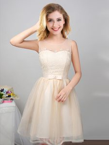 Colorful Scoop Sleeveless Lace Up Mini Length Lace and Appliques and Belt Quinceanera Dama Dress
