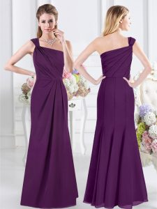 One Shoulder Floor Length Column/Sheath Sleeveless Purple Damas Dress Side Zipper