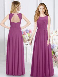 Cheap Fuchsia Chiffon Zipper Scoop Sleeveless Floor Length Damas Dress Ruching
