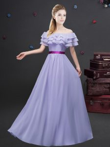 Inexpensive Off the Shoulder Floor Length Lavender Dama Dress Chiffon Short Sleeves Ruffled Layers and Belt