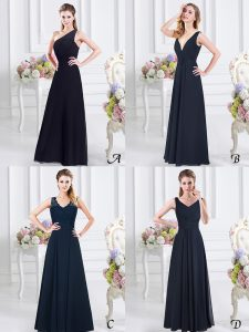 Suitable One Shoulder Floor Length Empire Sleeveless Navy Blue Damas Dress Side Zipper