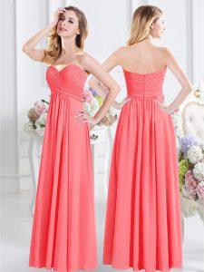 Exceptional Sweetheart Sleeveless Chiffon Court Dresses for Sweet 16 Ruching Zipper