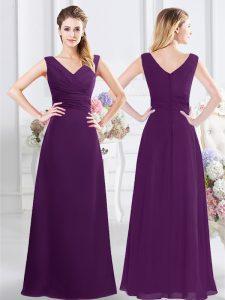 Purple Column/Sheath Chiffon V-neck Sleeveless Ruching Floor Length Zipper Dama Dress for Quinceanera