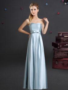 Chic Light Blue Zipper Dama Dress for Quinceanera Bowknot Sleeveless Floor Length