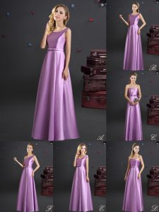 Custom Fit Square Sleeveless Elastic Woven Satin Floor Length Zipper Damas Dress in Lilac with Bowknot