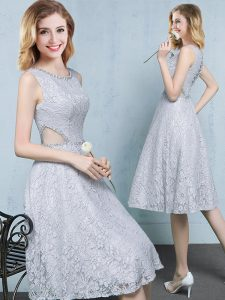 Wonderful Scoop Grey Empire Beading Quinceanera Court Dresses Lace Up Lace Sleeveless Knee Length
