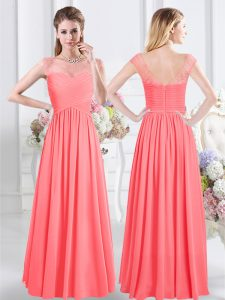 Watermelon Red Court Dresses for Sweet 16 Prom with Lace and Ruching Scoop Cap Sleeves Zipper