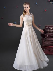 White Chiffon Zipper Scoop Sleeveless Floor Length Vestidos de Damas Lace and Appliques and Bowknot