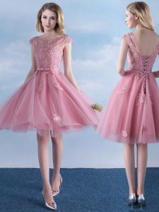 Scoop Appliques and Belt Damas Dress Pink Lace Up Cap Sleeves Knee Length