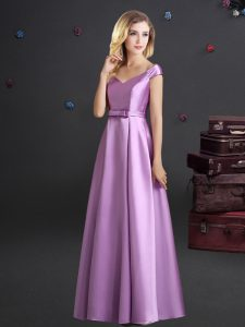 Lilac Off The Shoulder Neckline Bowknot Quinceanera Court of Honor Dress Cap Sleeves Zipper