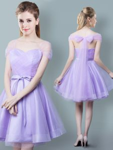 Straps Cap Sleeves Knee Length Zipper Court Dresses for Sweet 16 Lavender for Prom and Party and Wedding Party with Ruching and Bowknot