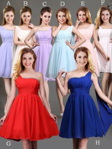 Cheap Red and Champagne Chiffon Zipper One Shoulder Sleeveless Mini Length Quinceanera Court of Honor Dress Beading and Ruching