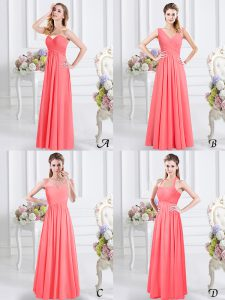 Watermelon Red Empire Lace and Ruching Quinceanera Court Dresses Zipper Chiffon Sleeveless Floor Length