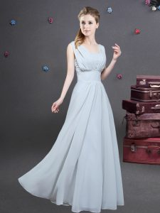 Enchanting Square Grey Sleeveless Ruching Floor Length Court Dresses for Sweet 16