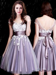 Flirting Lavender V-neck Zipper Appliques and Belt Vestidos de Damas Short Sleeves