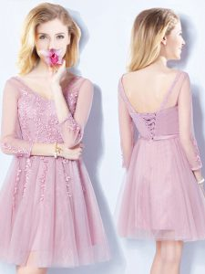 Cheap Pink Sleeveless Mini Length Appliques and Belt Lace Up Court Dresses for Sweet 16
