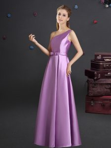 Customized One Shoulder Lilac Elastic Woven Satin Zipper Quinceanera Court Dresses Sleeveless Floor Length Bowknot