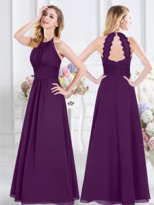 Halter Top Purple Sleeveless Ruching Floor Length Quinceanera Dama Dress