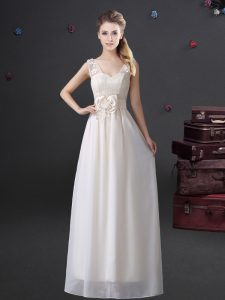 Cheap Floor Length White Dama Dress V-neck Sleeveless Zipper