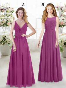 Fuchsia Empire V-neck Sleeveless Chiffon Floor Length Zipper Ruching Vestidos de Damas