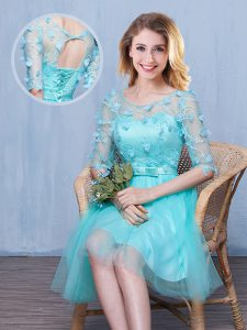 Customized Scoop Aqua Blue Lace Up Quinceanera Court of Honor Dress Lace and Appliques and Bowknot Half Sleeves Knee Length