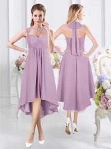 Wonderful Chiffon Halter Top Sleeveless Zipper Ruching Dama Dress in Lavender