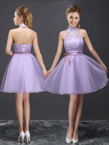 Lavender A-line Organza Halter Top Sleeveless Lace and Belt Mini Length Lace Up Damas Dress