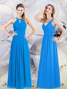Halter Top Sleeveless Zipper Floor Length Ruching Quinceanera Court Dresses