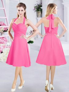 Best Selling Halter Top Hot Pink Sleeveless Knee Length Ruching Zipper Quinceanera Court of Honor Dress