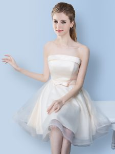 Custom Designed White Tulle Lace Up Strapless Sleeveless Knee Length Court Dresses for Sweet 16 Bowknot