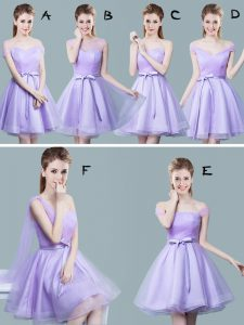 High Quality Tulle Straps Cap Sleeves Zipper Ruching and Bowknot Damas Dress in Lavender