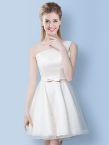 Sexy One Shoulder Sleeveless Tulle Dama Dress Bowknot Lace Up