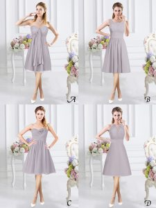 Grey Chiffon Side Zipper Sweetheart Sleeveless Knee Length Court Dresses for Sweet 16 Lace and Ruching and Hand Made Flower