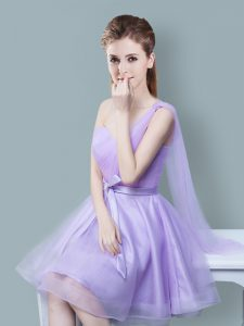 Dynamic One Shoulder Ruching and Bowknot Quinceanera Court of Honor Dress Lavender Zipper Sleeveless Knee Length