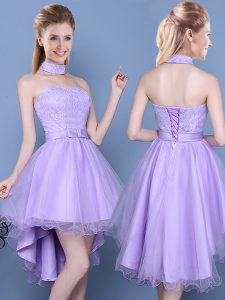Sweet Lavender Taffeta and Tulle Lace Up Sweetheart Sleeveless High Low Damas Dress Lace and Bowknot
