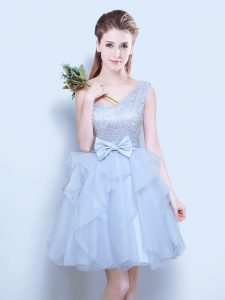 Mini Length Grey Damas Dress One Shoulder Sleeveless Lace Up