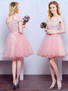 4e48d2dab0e Sophisticated Off the Shoulder Tulle Sleeveless Mini Length Quinceanera  Dama Dress and Beading and Lace