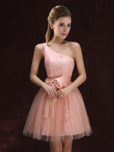One Shoulder Mini Length Peach Vestidos de Damas Tulle and Lace Sleeveless Lace and Bowknot