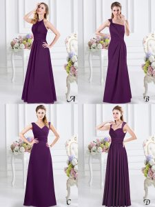 Chiffon Halter Top Sleeveless Lace Up Lace and Ruching Damas Dress in Purple