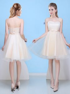 937753f4241 Champagne Sleeveless Bowknot Knee Length Dama Dress