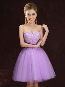On Sale Lilac Dama Dress Prom and Party and Wedding Party with Lace and Ruching Sweetheart Sleeveless Lace Up