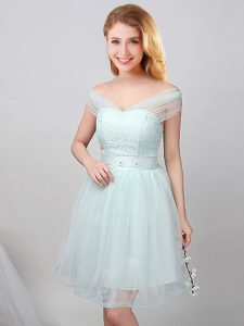 High End Off the Shoulder Short Sleeves Lace and Appliques and Belt Lace Up Dama Dress