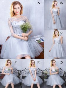 Modest Scoop Grey Sleeveless Lace and Appliques and Belt Knee Length Quinceanera Dama Dress
