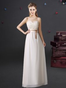 White Empire Sweetheart Sleeveless Chiffon Floor Length Lace Up Lace and Appliques and Belt Vestidos de Damas