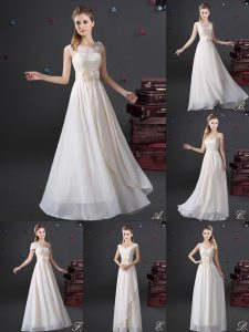Lovely Floor Length White Quinceanera Court Dresses V-neck Sleeveless Zipper