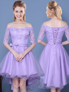Super Off the Shoulder Tulle Half Sleeves High Low Quinceanera Court of Honor Dress and Lace and Bowknot and Belt