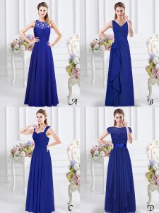 Dynamic V-neck Sleeveless Damas Dress Floor Length Lace and Ruffles and Ruching Royal Blue Chiffon