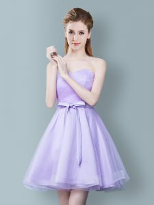 New Style Sweetheart Sleeveless Zipper Quinceanera Court of Honor Dress Lavender Tulle