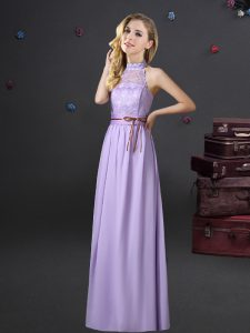 Lavender Empire Halter Top Sleeveless Chiffon Floor Length Lace Up Lace and Belt Damas Dress