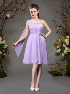High Quality One Shoulder Mini Length Empire Sleeveless Lavender Court Dresses for Sweet 16 Zipper